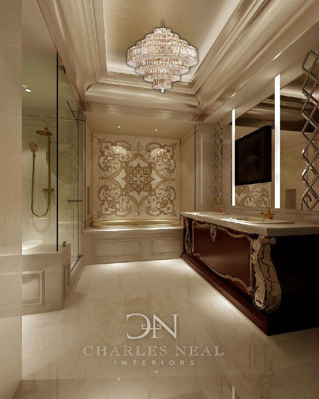 Luxury Master Bathroom  Charles Neal Interiors   Classic!