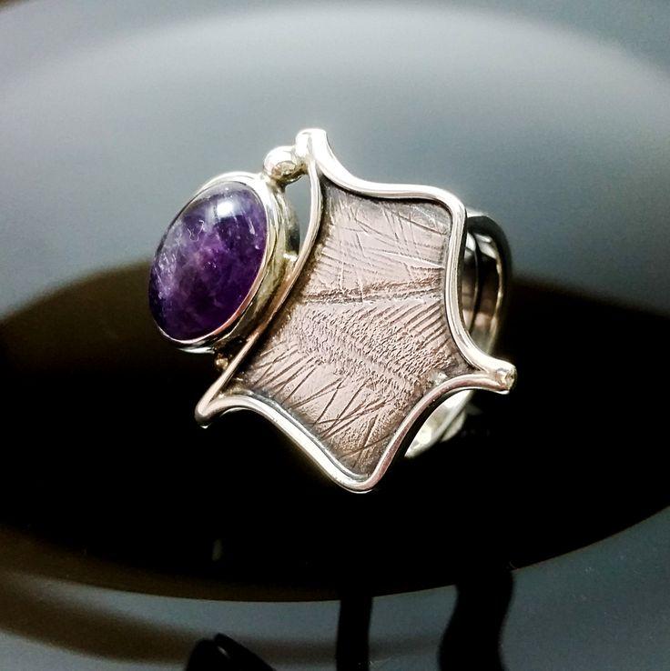 Sterling Silver Ring, UNIQUE RING, Handmade Silver Rings, Silver Jewelry, Unique Rings, Amatiste Stone de ALEXREDONDOJEWELS en Etsy