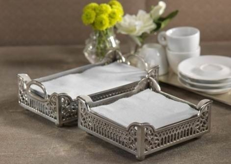 Such is the case with these very pretty Fret Motif Cocktail Napkin Holders  in Antique Pewter.