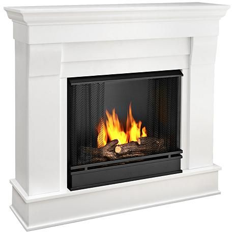 Real Flame Chateau White Mantel Gel Fireplace