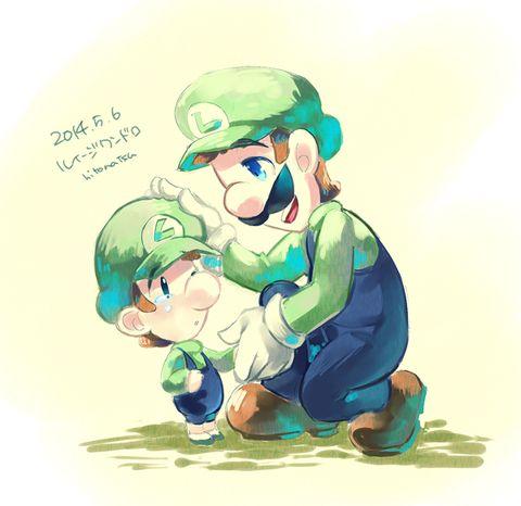 Luigi and baby Luigi [pixiv]