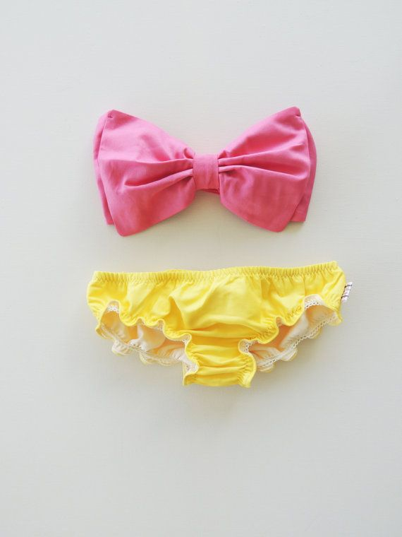 Vintage Bow Bandeau Bathingsuit style. Sunsuit Bikini. DiVa Halter Neck. Bubble Gum Pink  top & yellow curly leg panties. Sexy and cute