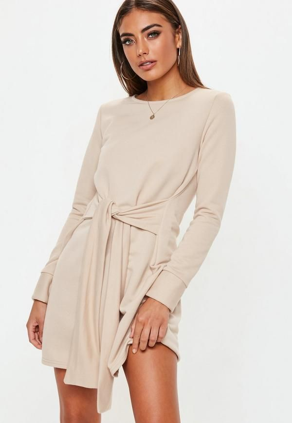 e277fd95f99 White Tie Waist Sweater Dress