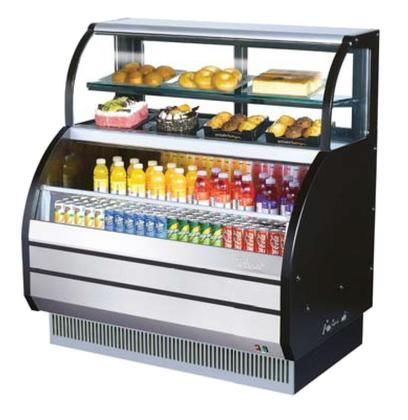"""TOMW50SBSF 50"""" Combination Case with Refrigerated Top LED Lighting Stainless Steel Front Panel Efficient Refrigeration System Attractive Glass Sides Anti-Rust Coating and Back Guard: Black"""