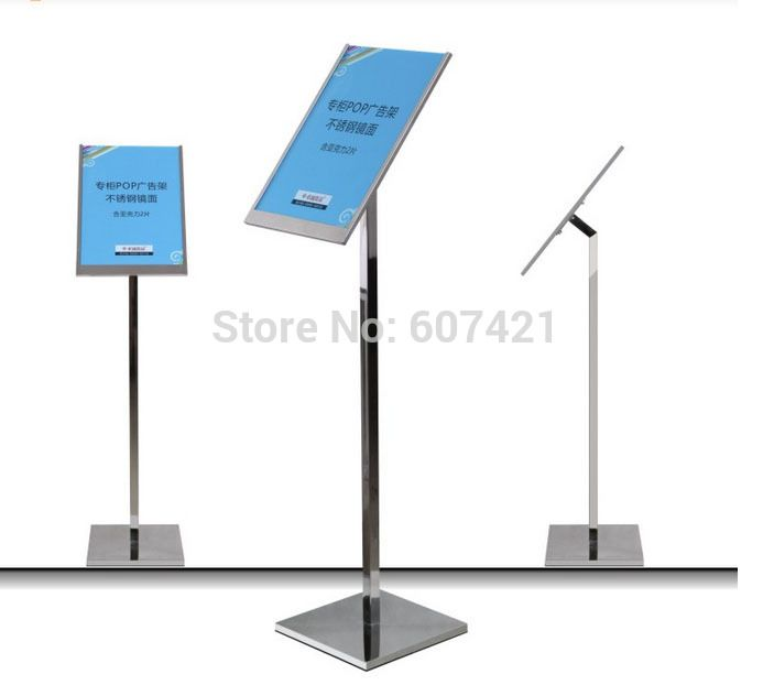 Fixed Height Floor Standing  A3Restaurant Floor Display Stands,Slim Frame Pedestal Stainless Steel Sign DIsplay Holders