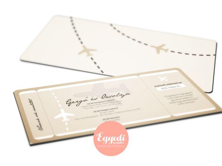 Különleges repülőjegy stílusú esküvői meghívó | Rustic boarding pass invitation card for wedding