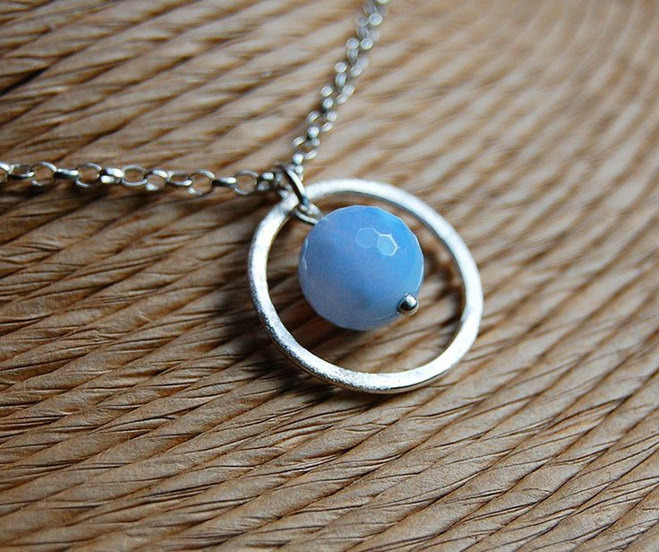 Blue Lace Agate Necklace   Throat Chakra Jewellery   Lotus Stones Sterling Silver Jewellery