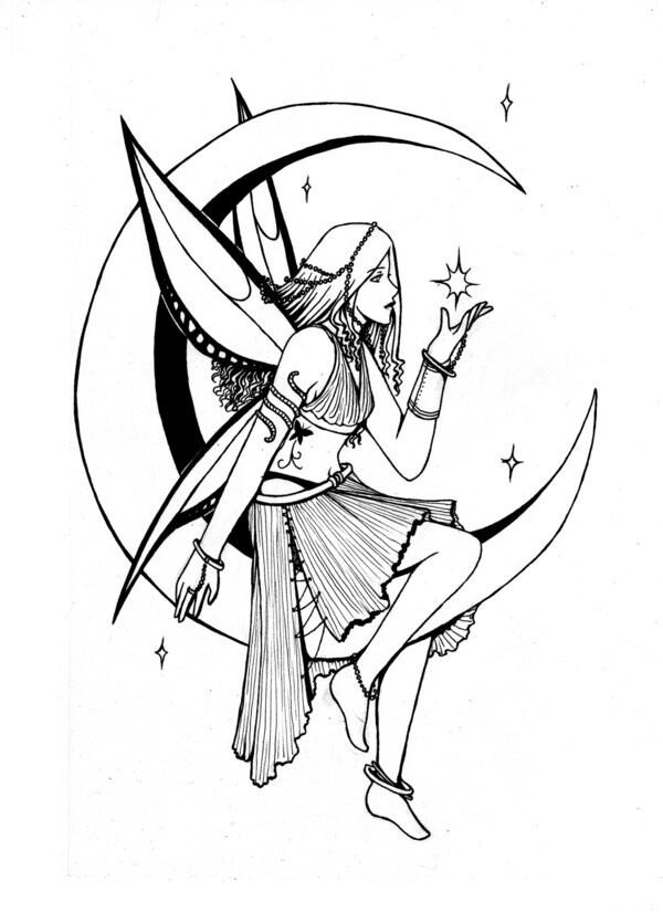 Moondelight Coloring Pages Fairy Drawings Fairy