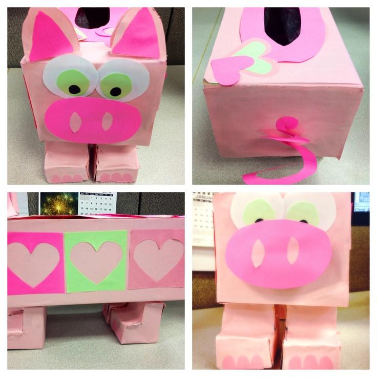 DIY Pink Piggy Valentine Box! Oink! Simply A Tissue Box U0026 Colored Paper.