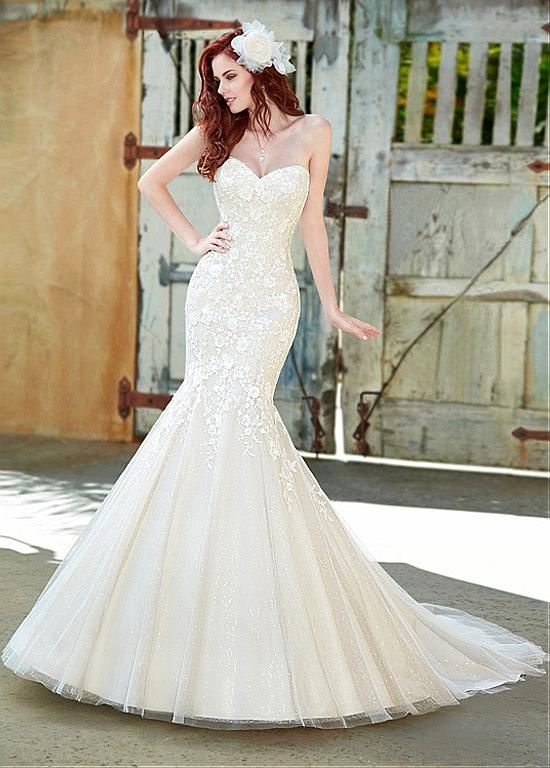 AMAZING SEQUIN TULLE MERMAID SWEETHEART NECKLINE NATURAL WAIST WEDDING DRESS IVORY WHITE LACE BRIDAL GOWN