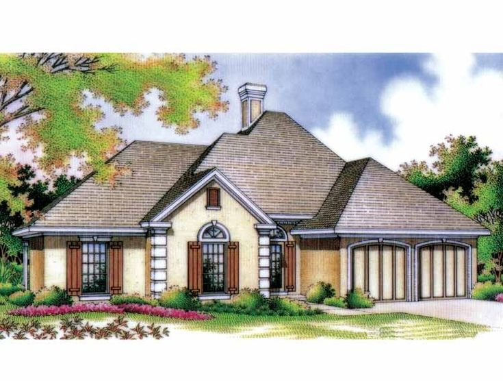 european style house plans 1682 square foot home 1 story 4 bedroom and 2 bath 2 garage stalls by monster house plans plan
