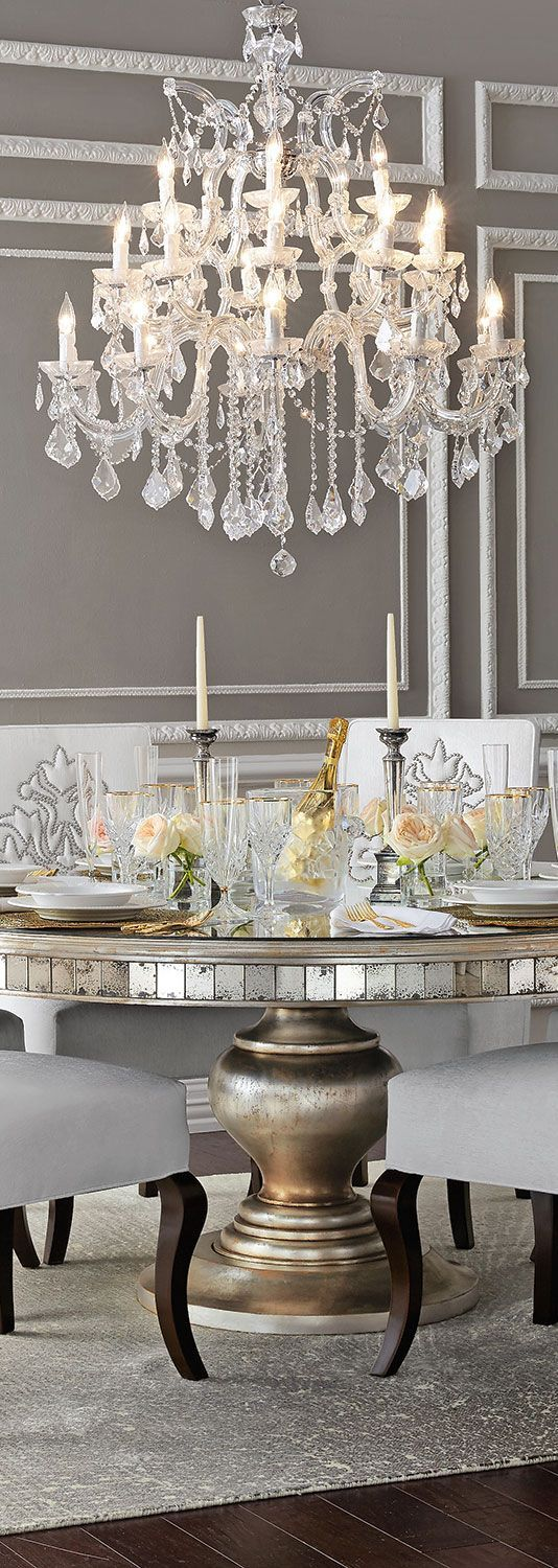 On Trend Decor Crystal Chandelier Grey Walls Antique Mirror Detail The