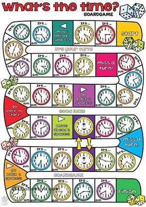 """What´s the time BOARDGAME - You need small pieces of paper and a dice. Groups of two or four students. Throw the dice and say the time according to the clocks in the square. If some students fall in the """"happy clock"""", then they have to move their pieces to the following. The winner will be the first who reaches the finish! Enjoy! Thank you. Cha. - ESL worksheets"""