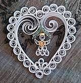 Dekorácie - Vianočná dekorácia - srdce s anjelom - 7440907_