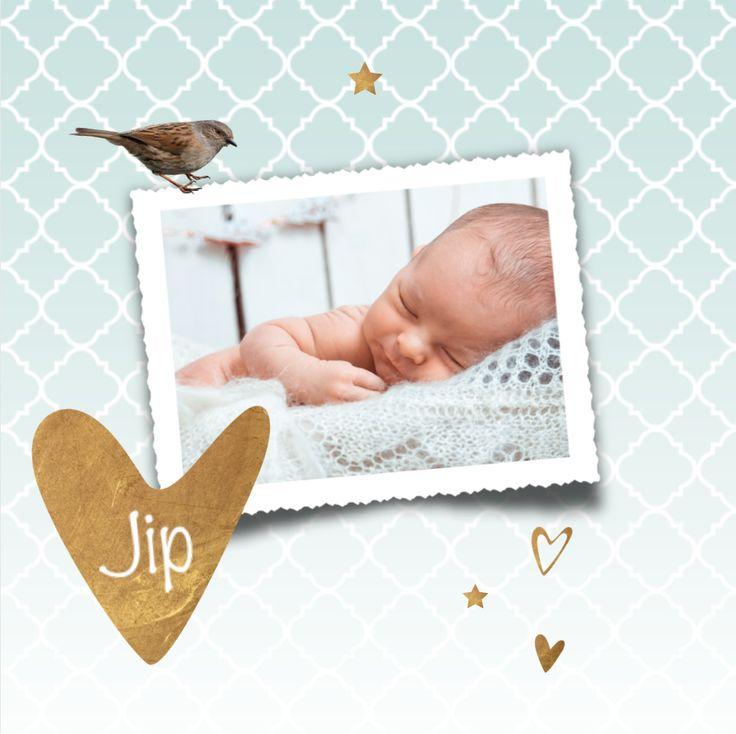 LOVZ | Lief foto geboortekaartje met koper look, vogeltje, hartjes en sterren voor een jongen! Met Marokkaanse print op de ondergrond. Alles staat los en is te bewerken