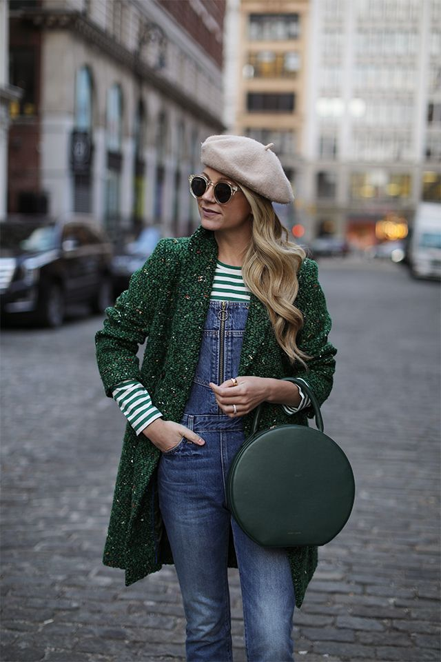 GREEN STRIPES // OVERALLS AND A STATEMENT COAT