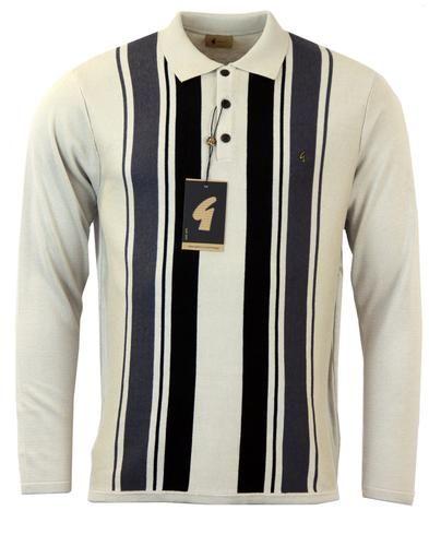 GABICCI VINTAGE 60s Mod Stripe Knit Polo Latte  Personal