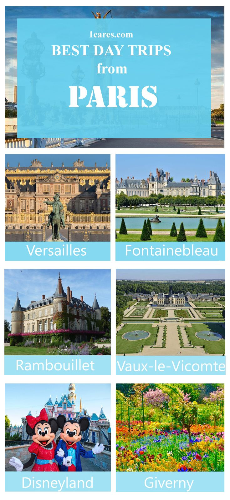 The best day trip destinations in Paris region. Your reliable travel partner in France. Chauffeur service in France. www.1CARES.com
