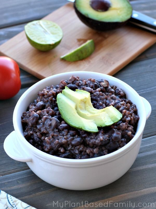 This Instant Pot Black Beans and Rice is a simple meal to prepare but still delicious. It's a family-sized vegan meal made in a pressure cooker.