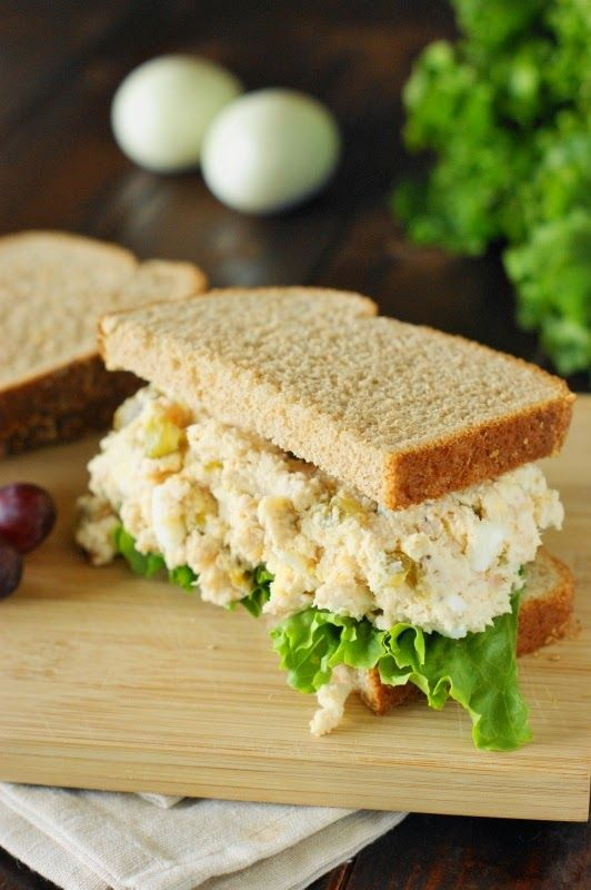 Traditional Southern Chicken Salad, with two 'secret' ingredients - hard boiled eggs and sweet pickle cubes.  Creamy and comforting.