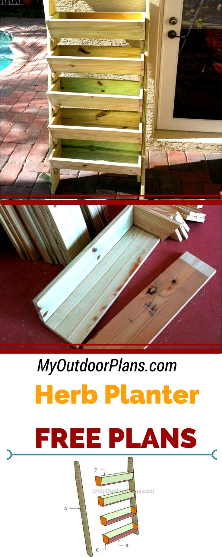 Build a tiered planter box for creating a cheap and simple herb garden! Save a ton of space and build something beautiful with the free herb planter plans at myoutdoorplans.com #diy