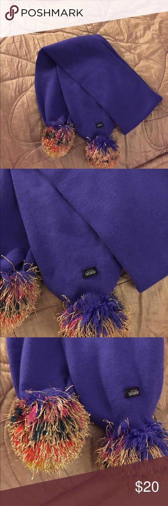 Katr spade Saturday scarf Never worn no tags purple with multicolored pompom kate spade Accessories Scarves & Wraps