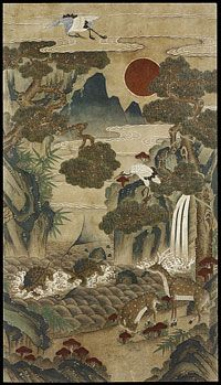 'Ten Longevity Symbols', a nineteenth-century Korean painting; the ten (although eleven are listed in the description) are 'the sun, clouds, water, rocks, mountains, pine trees, bamboo, fungus, turtles, cranes, and deer'; the number ten means 'perfect and full in Asian culture'. (Philadelphia Museum of Art)