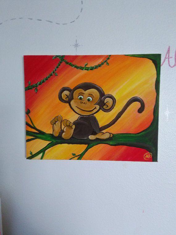 Monkey Painting Cute Monkey Painting Nursery by GettingMyArtsyOn