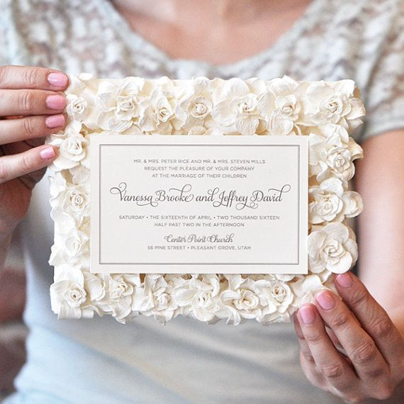 Paper Flowers Luxury Wedding Invitation Gorgeous By EngagingPapers