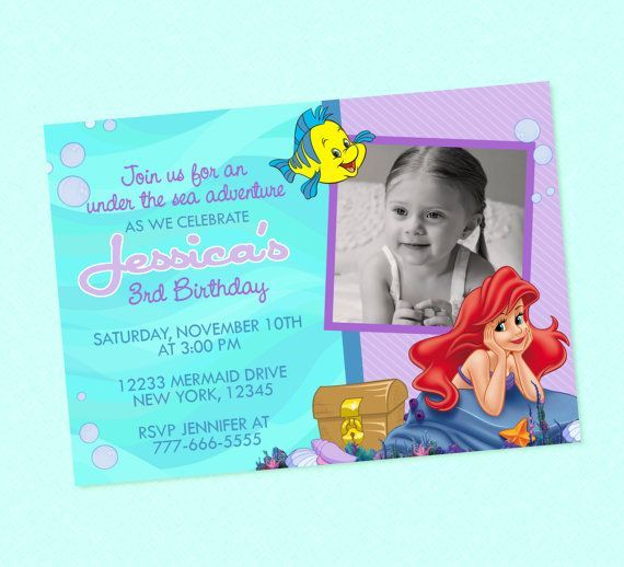 girl the little mermaid birthday invitations