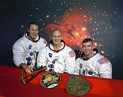 The original crew of Apollo 13:  Jim Lovell (commander), Ken Mattingly and Fred Haise. Mattingly was replaced by Jack Swigert, due to Mattingly's exposure to German measles.