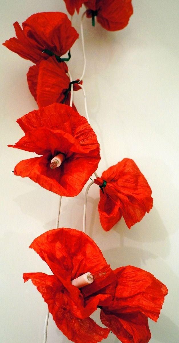 Guirlande lumineuse 20 coquelicots en papier de soie - rouge
