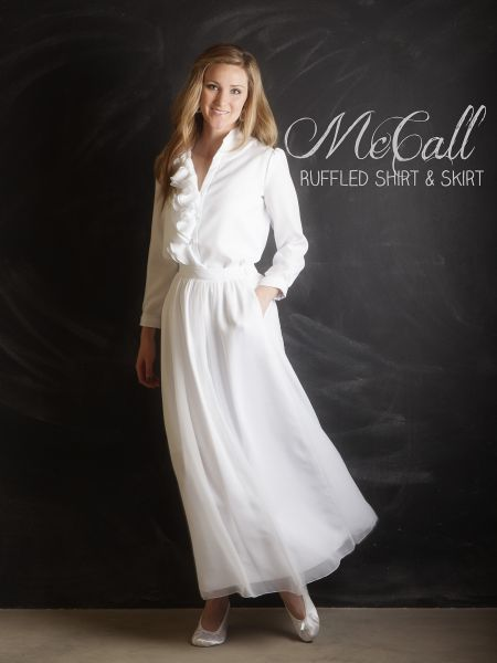 Looking for separates for your LDS temple outfit? Our McCall ruffled shirt and skirt set is a classic look for women of all ages. See more at ThePerfectWhiteDress.com