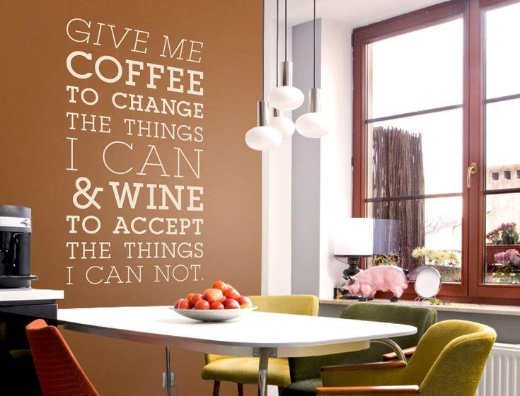 Wandtattoo Englischer Spruch Für Die Küche   Kaffee Und Wein
