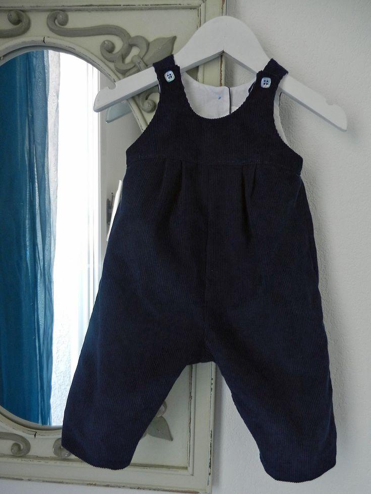 Duchesse or ange salopette velours bleu marine bebe dark blue navy baby overalls velvet