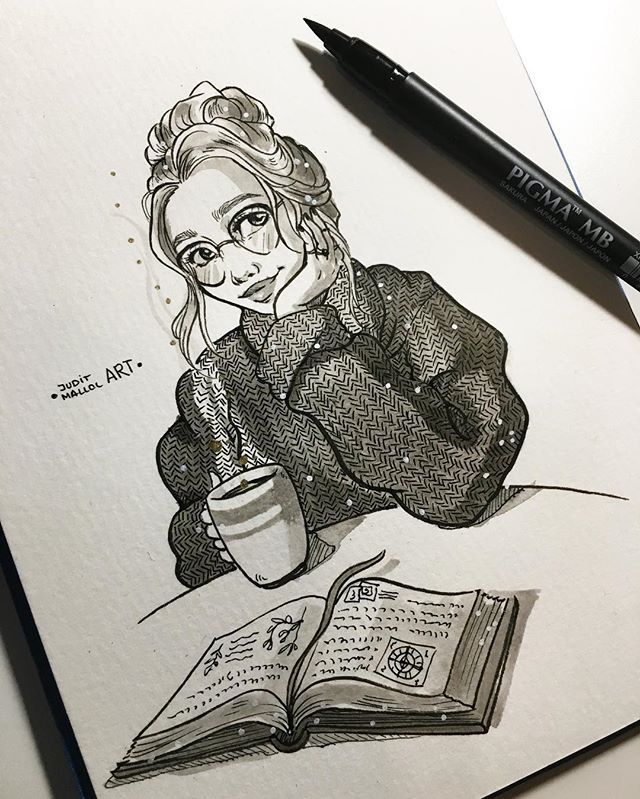 Instagram photo by juditmallolart - #inktober day 22! ✨  Such a gloomy day today... Just perfect to read a book with a big ass cup of hot coca ☕️ ✨Note: ALL THE INKTOBERS ARE AVAIABLE ON MY REDBUBBLE STORE PPL!! *link in bio* ✨