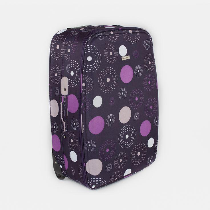 Kufor látkový fialový s bodkami veľký