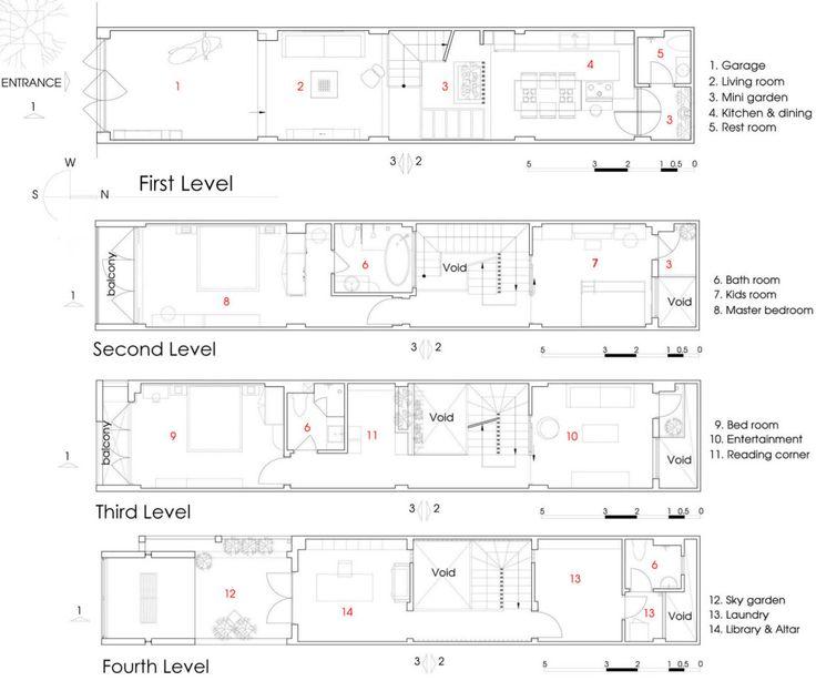 Las 25 mejores ideas sobre planos de vivienda estrecha en for Viviendas pequenas planos