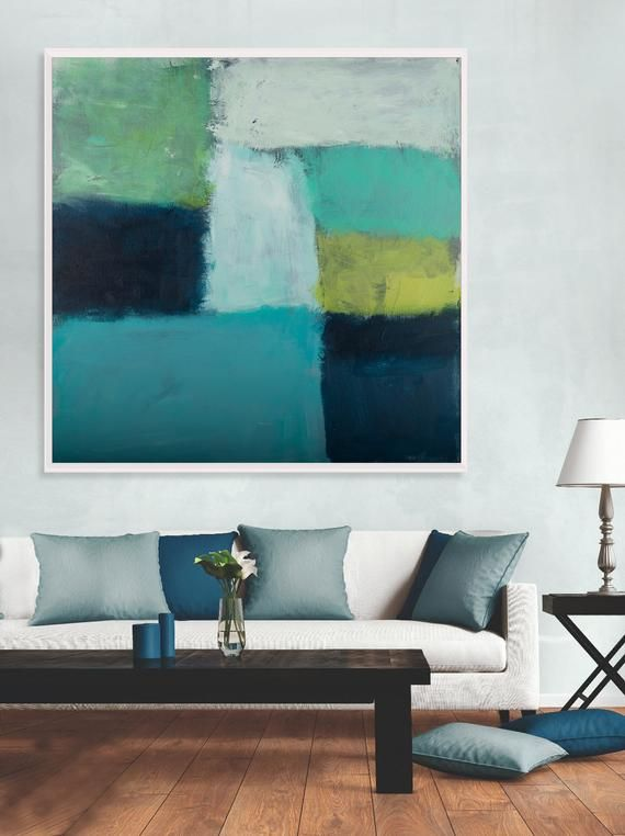 Large Teal Canvas Art Abstract Painting Teal Wall Art Decor Etsy Teal Canvas Art Abstract Art Decor Abstract Art Painting #teal #wall #decor #for #living #room