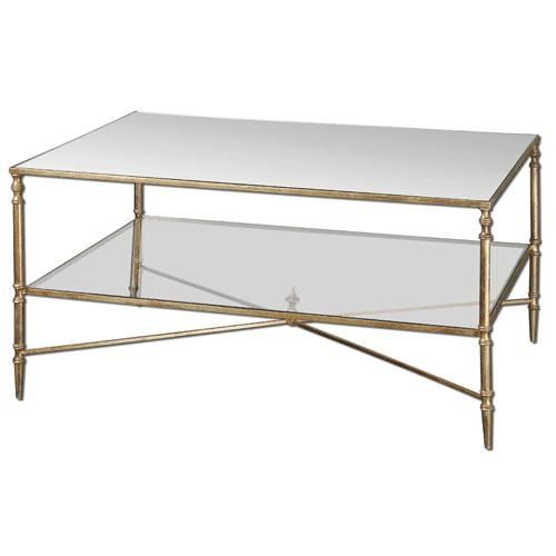 Modern Glass Coffee Table With Wheels: Double Layer Glass & Brass Coffee Table