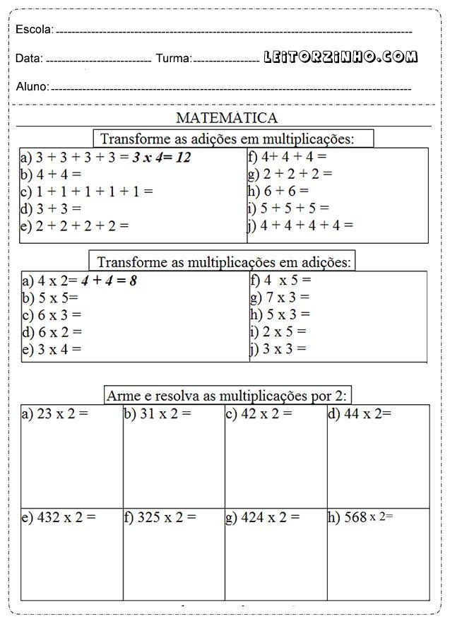 Leitores: atividades de matemática 4° ano multiplicação