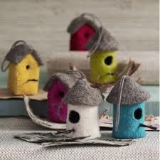 Needle felting bird house; these would all look really cool hanging on a mobile together!