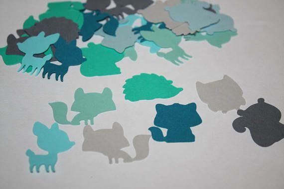 200 pieces Blue Ombre Woodland Theme Die Cut Confetti Table