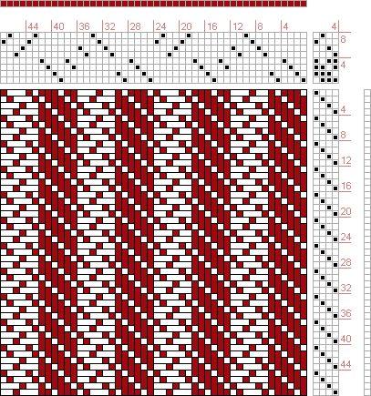 Hand Weaving Draft: 24176, 2500 Armature - Intreccio Per Tessuti Di Lana, Cotone, Rayon, Seta - Eugenio Poma, 8S, 4T - Handweaving.net Hand Weaving and Draft Archive