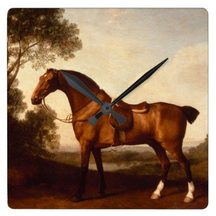 Bay Hunter Vintage Painting by George Stubbs Square Wall Clock - vintage gifts retro ideas cyo