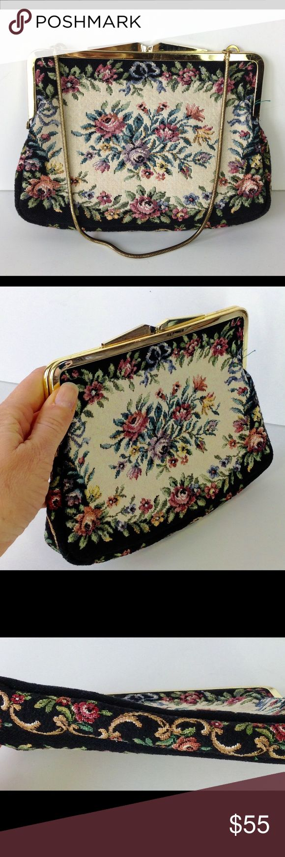 Vintage needlepoint floral clutch bag purse Vintage needlepoint floral clutch bag purse.  Very good condition. Kiss lock closure. Chain strap tucks into bag as desired.  Sweet! Bags Clutches & Wristlets