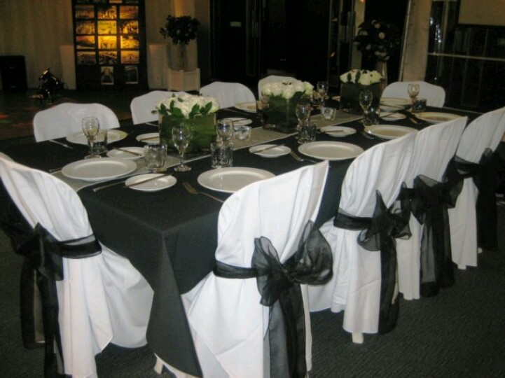 Black and white table setting | PROM DECORATING IDEAS | Pinterest & Black And White Formal Table Decorations Photograph | Black