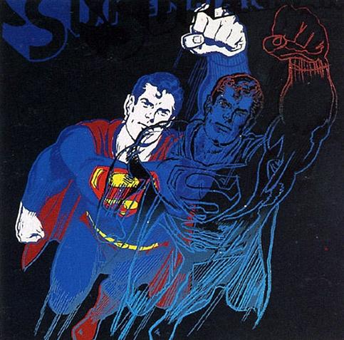 슈퍼맨 (1981)       워홀은 뽀빠이나 미키 마우스 그리고 슈퍼맨과 같이 미국인들이 열광하는, 지극히 대중적인 소재를 이용하여 작품을 제작하곤 했습니다. 이를 통해 전통적인 미술에 대한 개념을 극복하고자 한 것이지요. 이 또한 어떻게 해서든지 여느 그림과는 다른 것을 보여주어야 한다는, 그래야 대중에게 어필할 수 있다는 그의 신념을 표현한 것입니다.