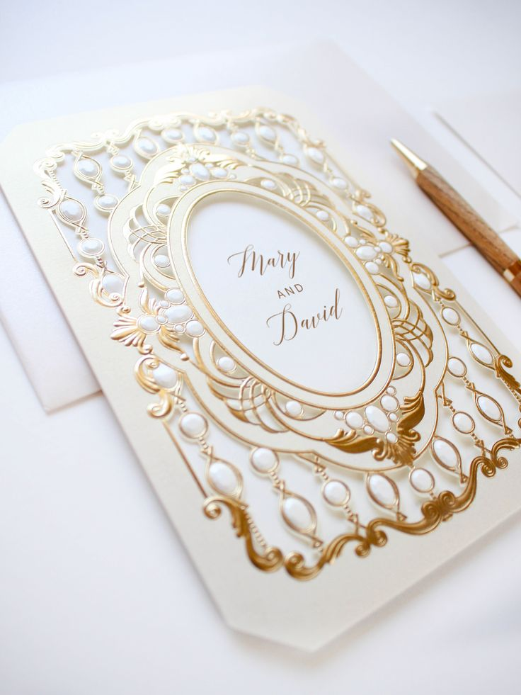 Luxury gold wedding invitation by Paper Bound Love