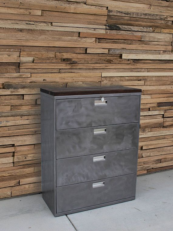 Refinished Large 5 Drawer Metal Filing Cabinet W Wood Top Etsy Filing Cabinet Metal Filing Cabinet Rustic Industrial